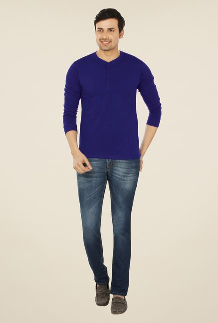 Weardo Royal Blue Henley T Shirt