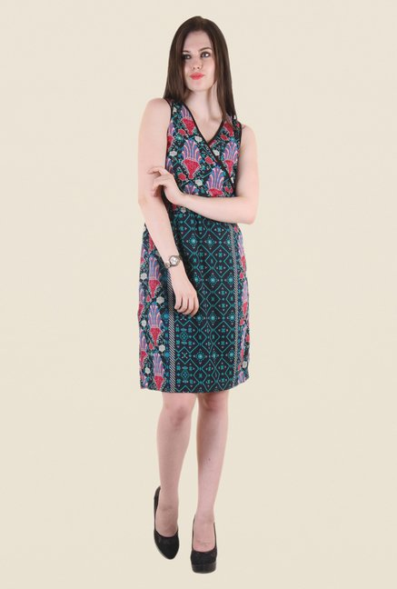 Hotberries Green & Red Abstract Print Dress