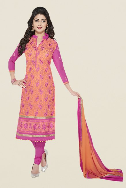Ishin Orange & Pink Embroidered Unstitched Dress Material