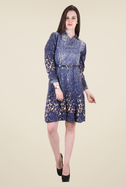 Hotberries Blue Printed Dress