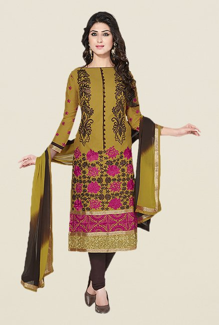 Ishin Green & Brown Embroidered Unstitched Dress Material