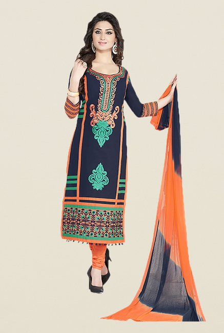 Ishin Blue & Orange Embroidered Unstitched Dress Material