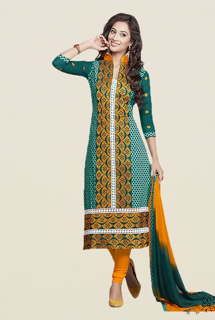 Ishin Green & Yellow Embroidered Unstitched Dress Material
