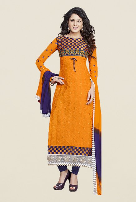 Ishin Yellow & Navy Embroidered Unstitched Dress Material