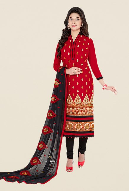 Ishin Red & Black Embroidered Unstitched Dress Material