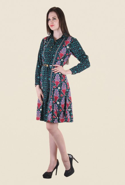 Hotberries Green & Black Printed Dress