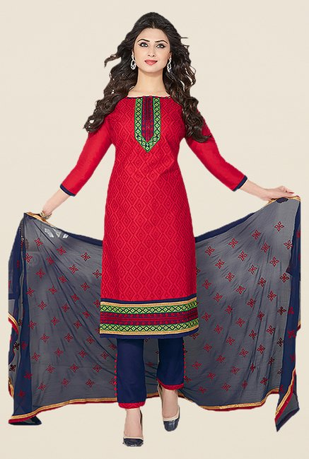 Ishin Red & Blue Embroidered Unstitched Dress Material