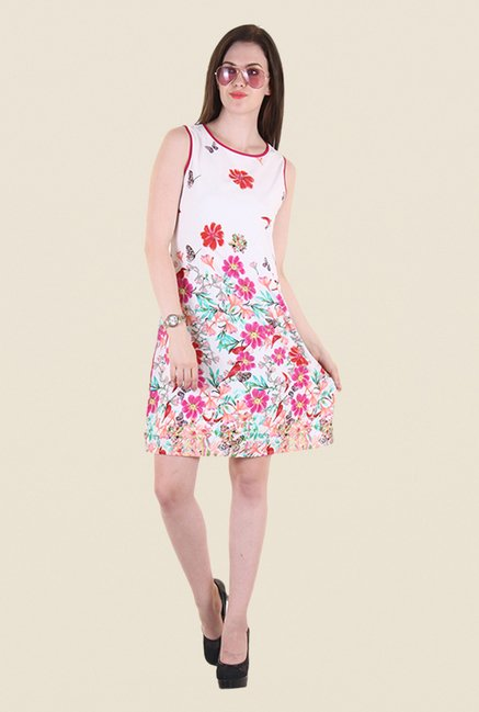 Hotberries White & Pink Floral Print Dress