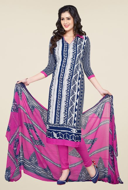 Ishin Blue & Pink Printed Unstitched Dress Material