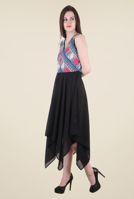 Hotberries Black & Blue Printed Dress
