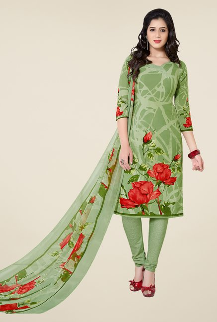 Ishin Green Printed Unstitched Dress Material
