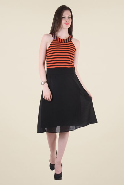 Hotberries Black & Orange Striped Dress
