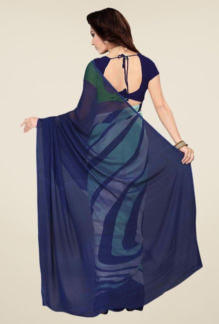 Ishin Navy & White Faux Georgette Printed Saree