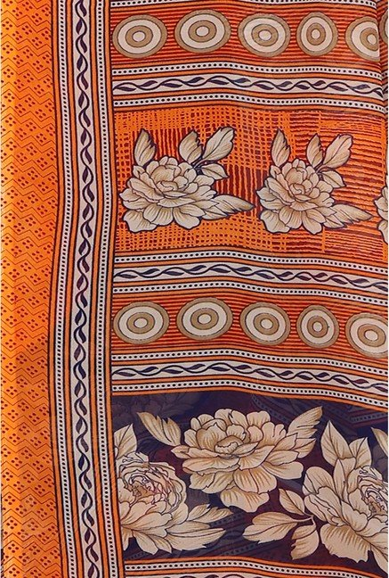 Ishin Orange Faux Georgette Floral Print Saree