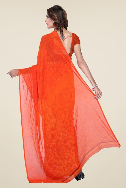 Ishin Orange & Beige Faux Georgette Floral Print Saree