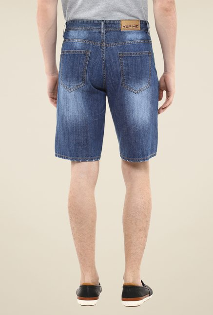 Yepme Blue Douges Medium Wash Denim Shorts