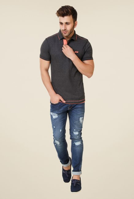 Spunk Grey Ripped Polo T-shirt