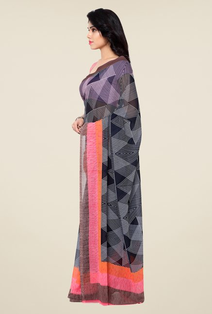 Shonaya Black Printed Georgette Saree