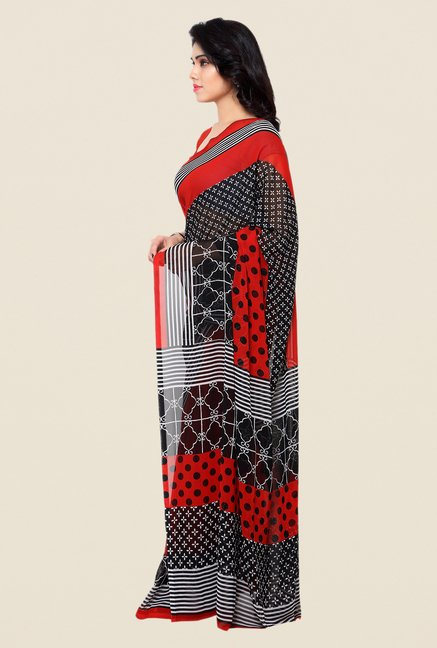 Shonaya Red & Black Printed Georgette Saree