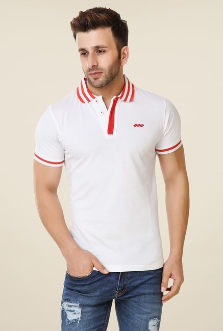 Spunk White Taping Polo T-shirt