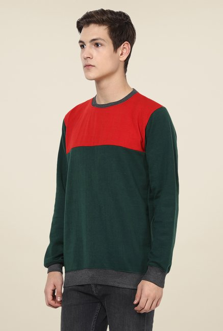 Yepme Green & Red Darvin Sweatshirt