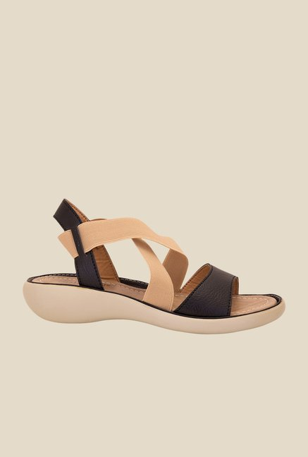 Solester Black & Beige Sling Back Sandals