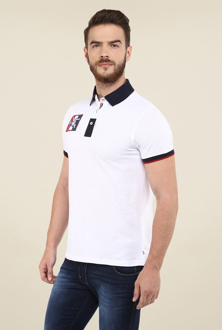 celio* Off White Solid Polo T Shirt