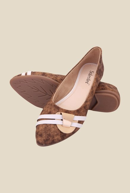 Solester Brown & Beige Flat Ballets