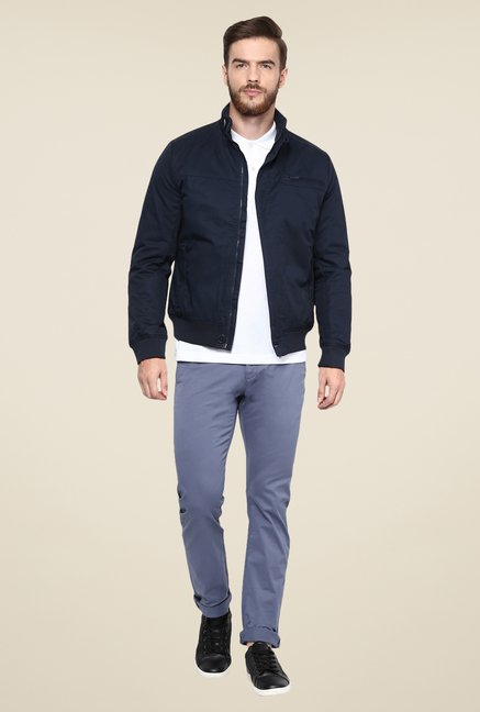 celio* Navy Solid Jacket