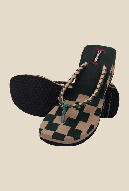 Solester Green & Beige Wedge Heeled Flip Flops