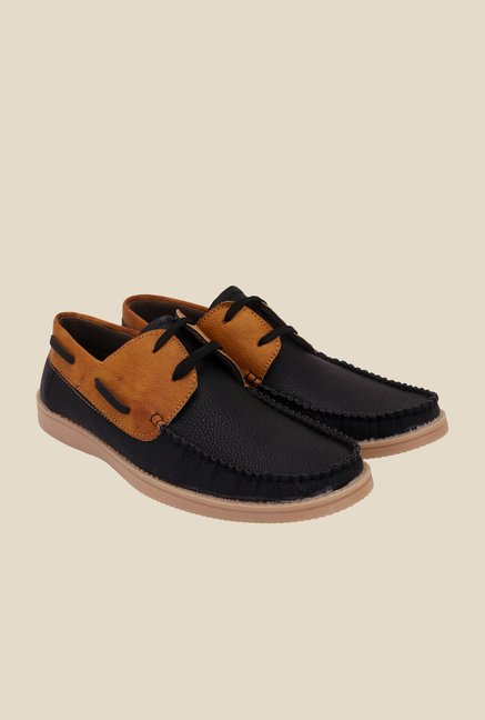 Solester Black & Tan Boat Shoes