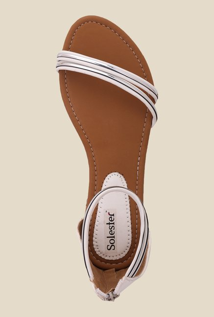 Solester White & Silver Casual Sandals