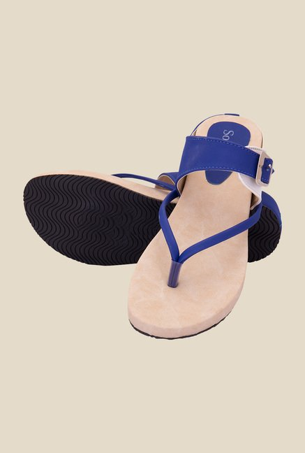Solester Blue & Beige Thong Sandals