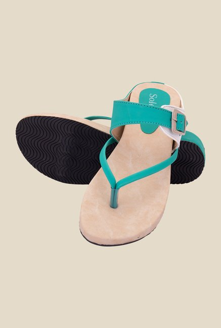 Solester Sea Green & Beige Thong Sandals