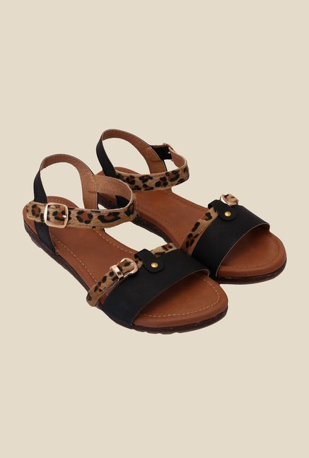 Solester Brown & Black Ankle Strap Sandals