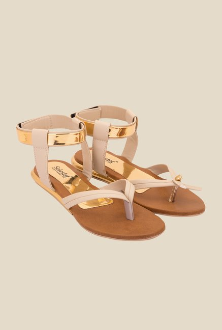 Solester Cream & Golden Back Strap Sandals