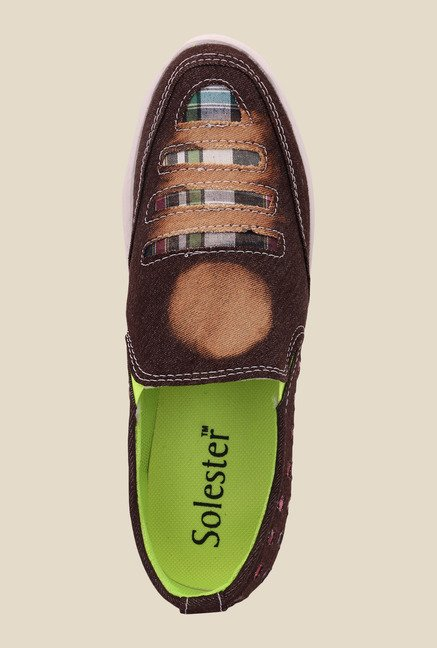 Solester Brown & White Plimsolls