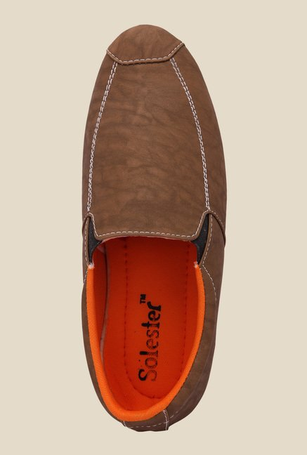 Solester Brown & White Slip-Ons