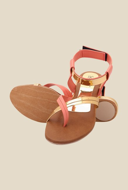 Solester Orange & Golden Back Strap Sandals