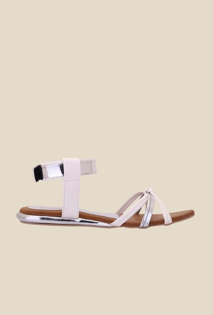 Solester White & Silver Back Strap Sandals