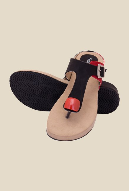 Solester Black & Red Thong Sandals