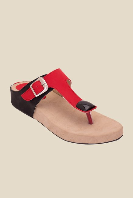 Solester Red & Black Thong Sandals