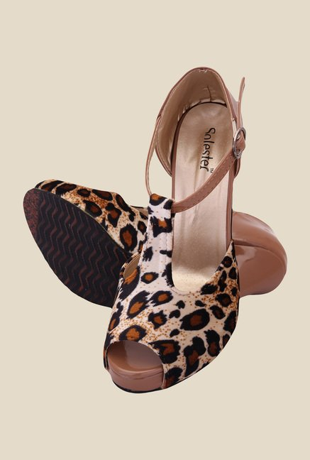 Solester Brown & Black Ankle Strap Stilettos