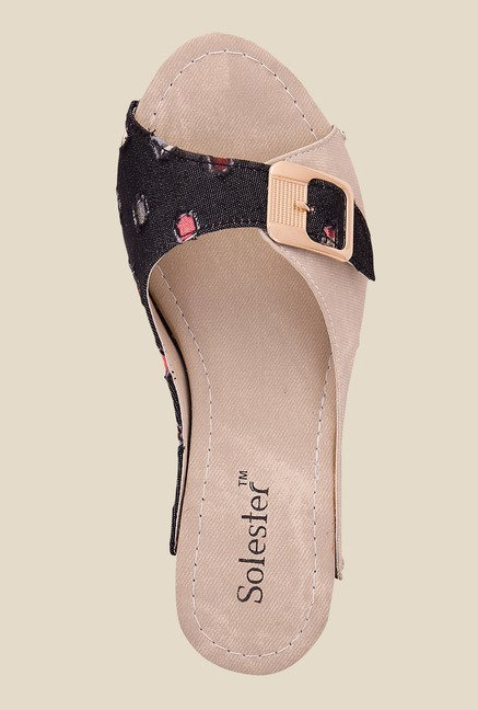 Solester Black & Beige Wedge Heeled Sandals