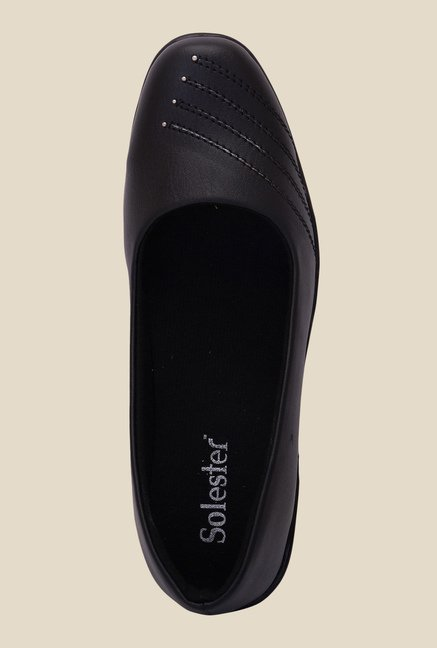 Solester Black Wedge Heeled Pumps