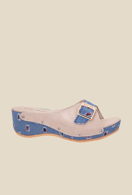 Solester Blue & Beige Wedge Heeled Sandals