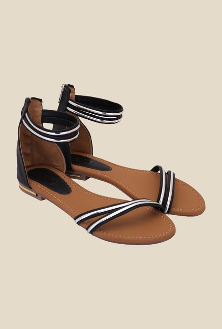 Solester Black & Silver Casual Sandals