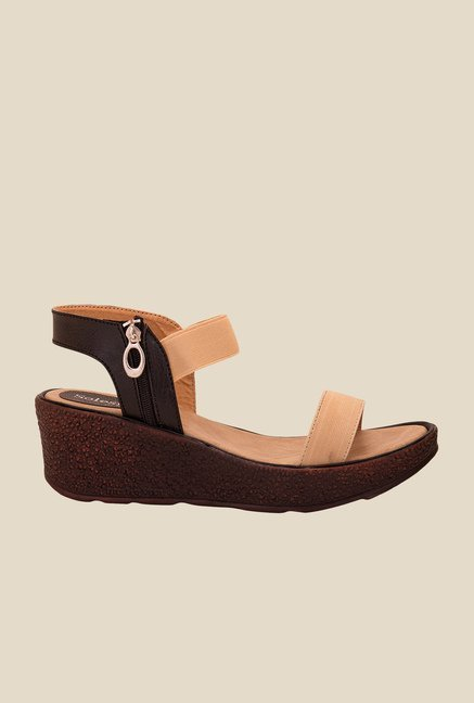 Solester Black & Beige Back Strap Wedges