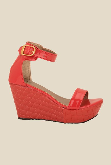 Solester Red Ankle Strap Wedges