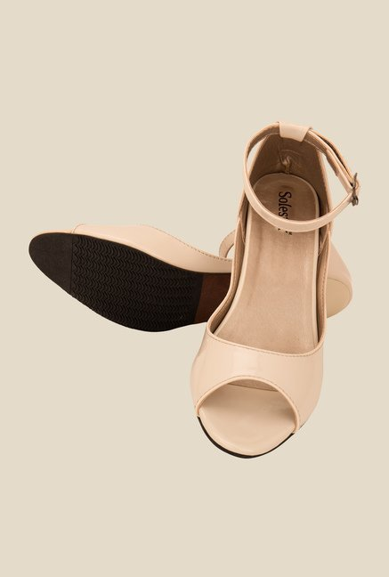 Solester Cream Ankle Strap Sandals